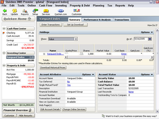 Set Up A Mutual Fund Investment Account With Quicken 2005 Dummies