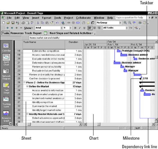 Gantt Chart view can display any combination of columns of data that you want.