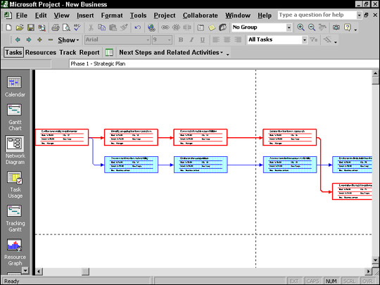 Network Diagram view puts important task information in task boxes.