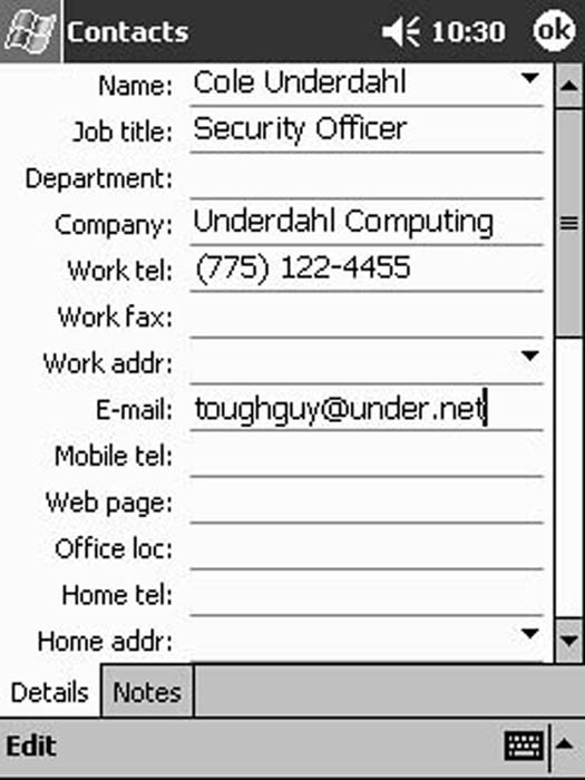 Enter contact information into any of the fields as necessary.