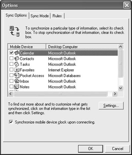 Open the Options dialog box to choose your ActiveSync settings.