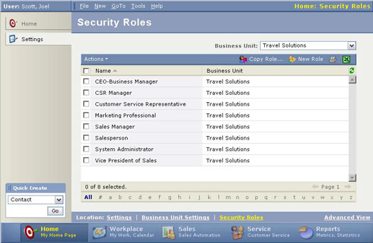 List view of all existing security roles.