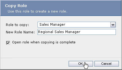 Copying a new role from an existing one.