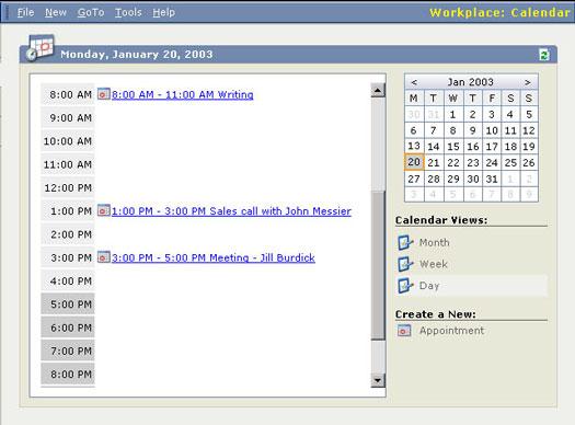 The Workplace calendar.