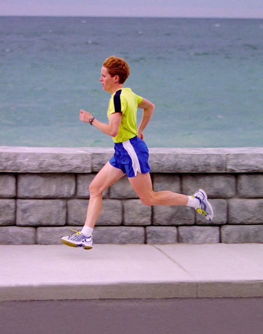 Correct running posture inclines an ever-so-slight forward lean.