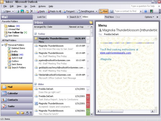 The main screen in Microsoft Outlook.