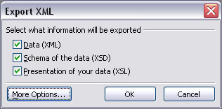 The Export XML dialog box