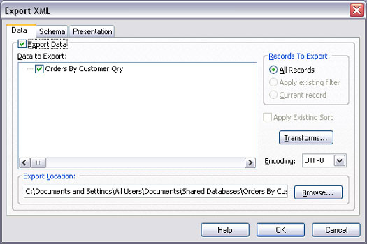 The Data tab on the expanded Export XML dialog box.