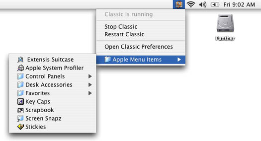 The Classic status menu adds a useful shortcut to your Mac OS 9 Apple Menu Items.