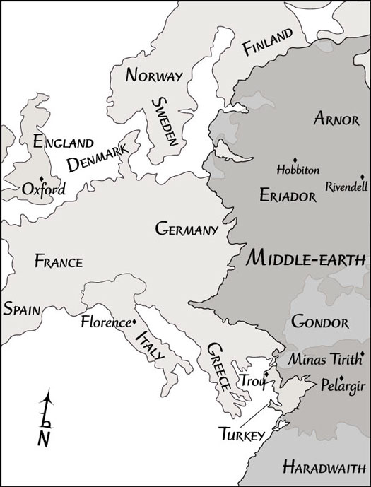 Middle-earth's coastline superimposed on Western Europe.
