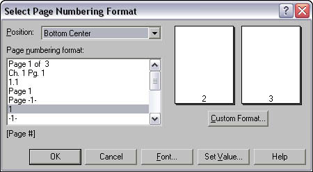 Select Page Numbering Format dialog box.