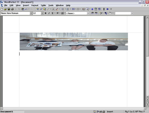 Stretching a picture in WordPerfect 11.