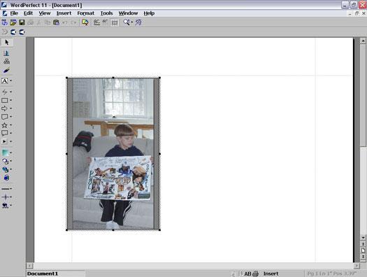 An open image in WordPerfect 11.