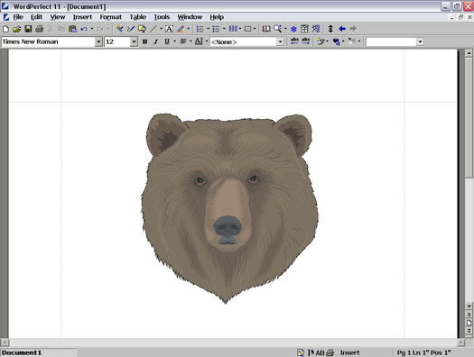 Open WordPerfect document with an illustration of a bear's face.