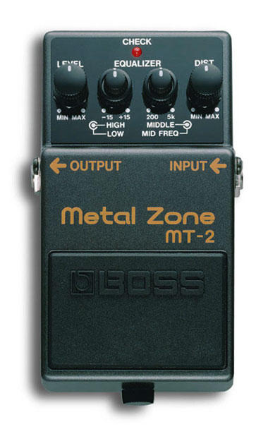 The Boss Metal Zone offers extremely high gain and built in EQ.