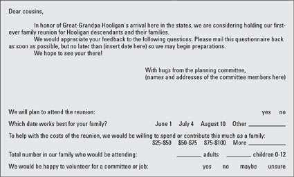 Laying the groundwork for a family reunion dummies a reunion survey solicits feedback from family members altavistaventures Image collections