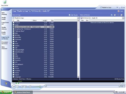 Burning a playlist in Windows Media Player.