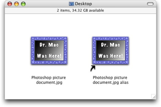 An alias icon (right) and its parent.