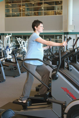 Elliptical trainers are gentle enough for prenatal workouts. [Credit: Photograph by John Urban]