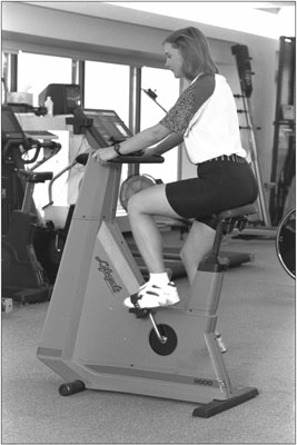 An upright stationary bike. [Credit: Photograph by Sunstreak Productions, Inc.]
