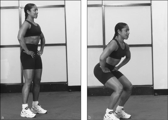 The squat strengthens your butt and works your quadriceps and hamstrings. [Credit: Photograph by Su