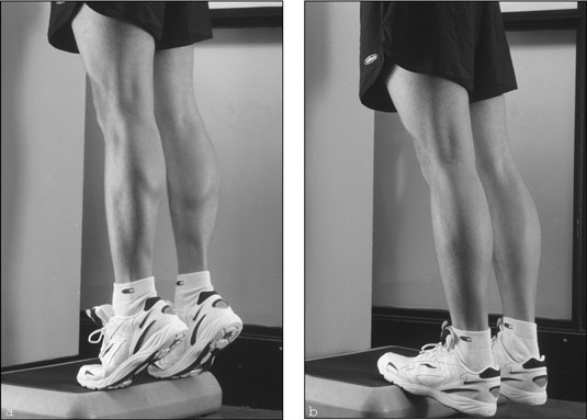 The standing calf raise works your calf muscles. [Credit: Photograph by Sunstreak Productions, Inc.]