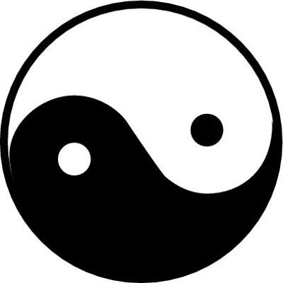 The curved, non-stagnated lines of yin and yang.