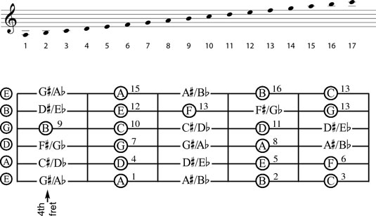 How to find notes on a guitar dummies the notes of the fourth through eighth frets ccuart Choice Image