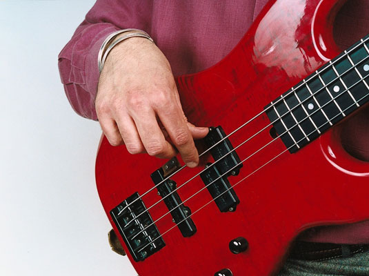 how to position your right hand for finger style bass guitar dummies. Black Bedroom Furniture Sets. Home Design Ideas