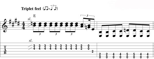 Alternating between a lead lick and a bass groove.