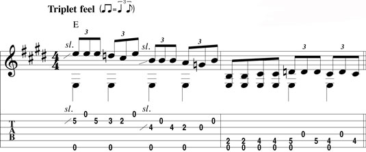 Combining fretted notes and open strings.
