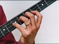 Placing your fingers on the neck of a bass guitar.