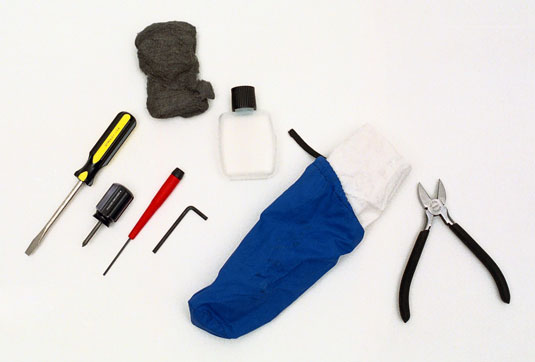 The basic contents of a bass tool bag.