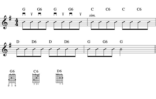 An eighth-note shuffle in G using downstrokes and upstrokes. You can play the three new chord forms