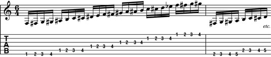 "An ""across the neck"" chromatic warm-up."