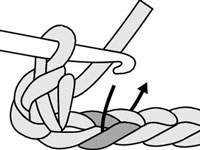 Start the next single crochet stitch by inserting the needle into the next chain stitch.