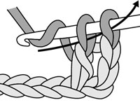 Draw your yarn through the last 2 loops on the hook to complete a double crochet stitch