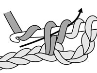 Draw your yarn through the first 2 loops on your hook.