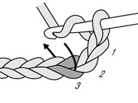 Insert the crochet hook in the third chain from the hook.