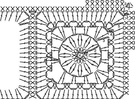 Stitch pattern and diagram to create a crochet motif.