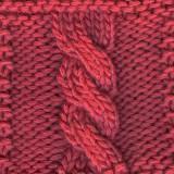 A six-stitch left-twisting cable (abbreviated C6F)