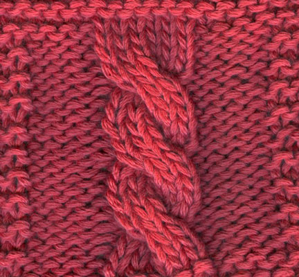 A six-stitch left-twisting cable (abbreviated C6F)