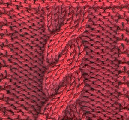 A six-stitch right-twisting cable (C6B)