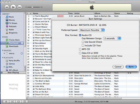 How do i burn audio cd using itunes