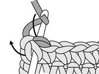 Second part of a reverse single crochet stitch