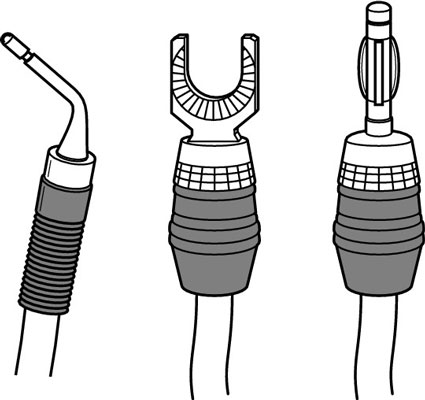 From left to right: a pin connector, a spade lug, and a banana plug.