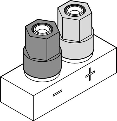 The five-way binding post (for pin connectors).