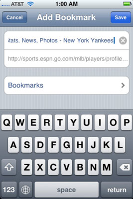 View the Add Bookmark screen.