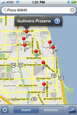View the pushpins for nearby pizza joints.