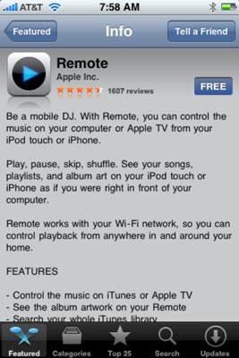 The detail screen for Remote, a free app from Apple that lets you control iTunes or AppleTV from yo